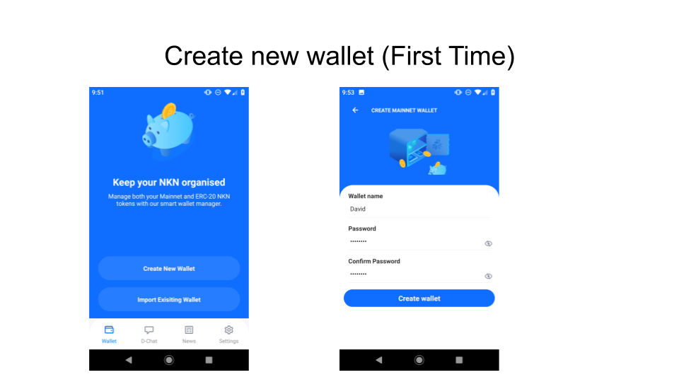 Create wallet first time